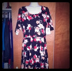 NWT- Lularoe Nicole Black Floral Dress